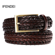 IFENDEI Men Genuine Leather Belt Pin Buckle Woven Knitted Belts For Quality Luxury Designer Handwoven Fashion Jeans