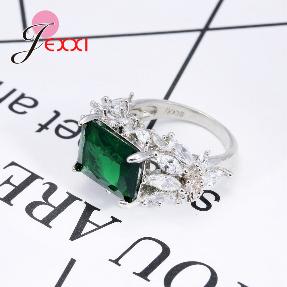 JEXXI 2018 New Fashion Retro Style Green Rectangular AAA Australian crystal 925 Sterling Silver Promise Rings For Mature women