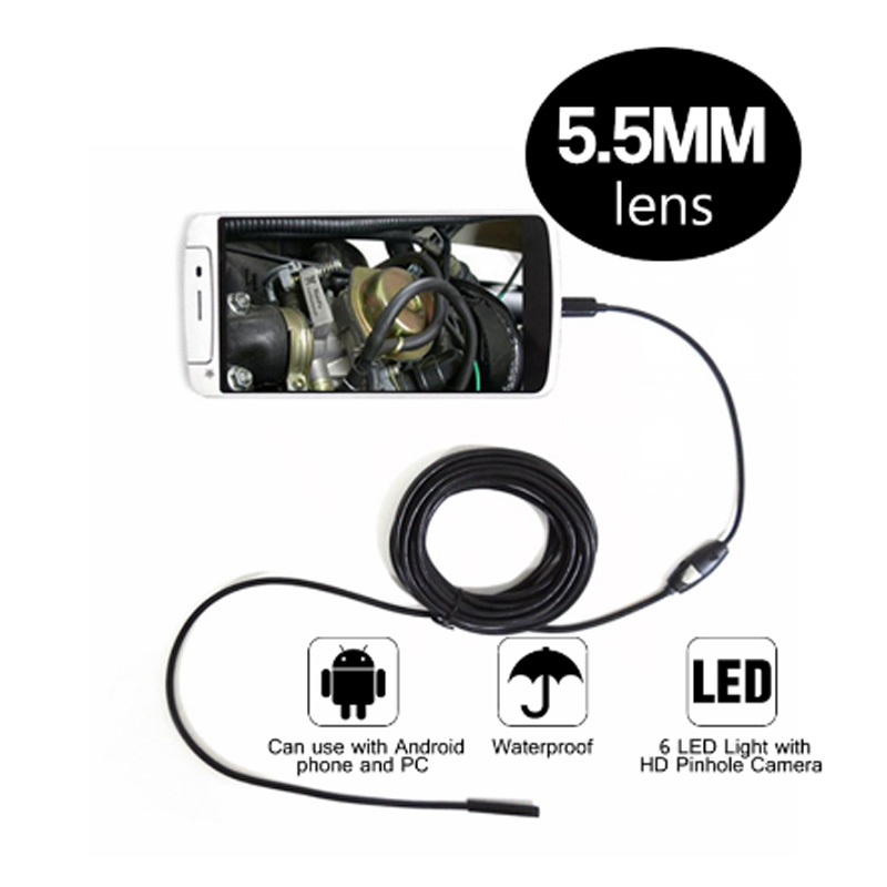 5 5mm Dia Android Endoscope Camera 6LED 2M Cable Inspection car Borescope USB Micro Waterproof Endoscope