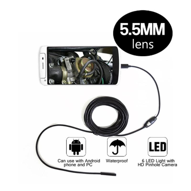 imágenes para 5.5mm Dia Endoscopio Android Cámara 6LED 2 M Cable Micro USB Impermeable Del Endoscopio Del Animascopio de la Inspección del coche de La Cámara para PC Smartph