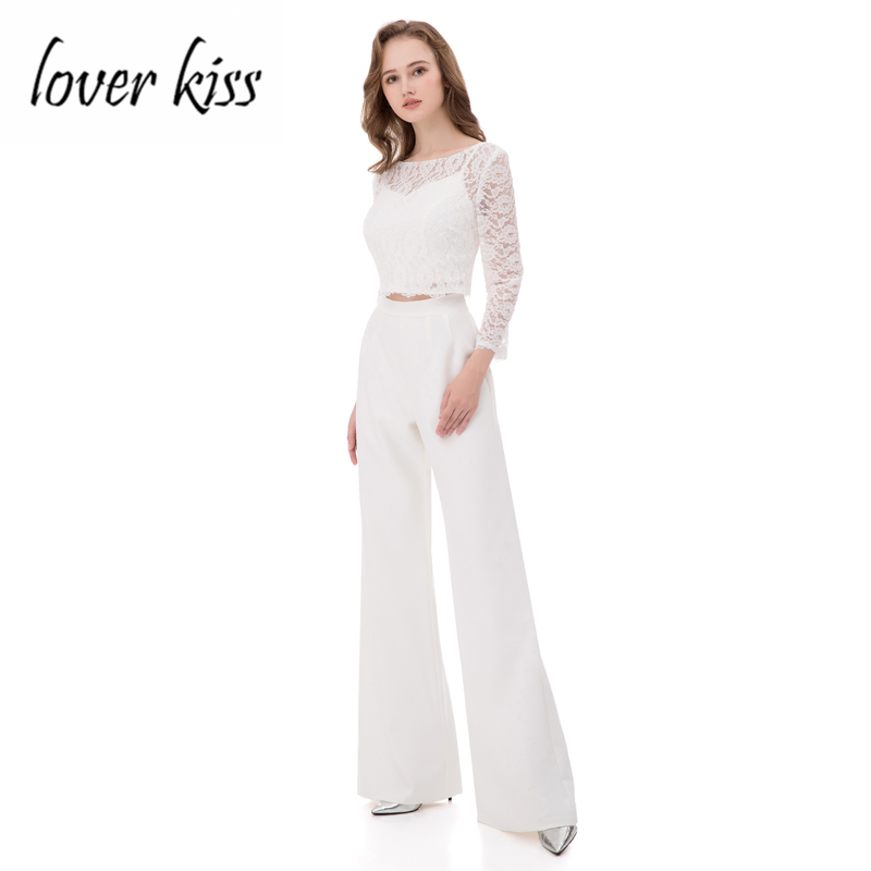 Lover Kiss Modest 2018 Lace Long Sleeve Jacket Crop Top Wedding Suit Women 3 Pieces Bride Mother Pants for Weddings robe mariage