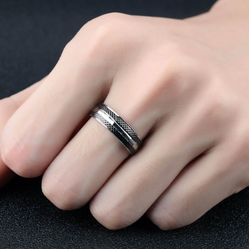 Fashion Jewelry Double Black Loop Titanium Steel Men\'s Ring Male ...