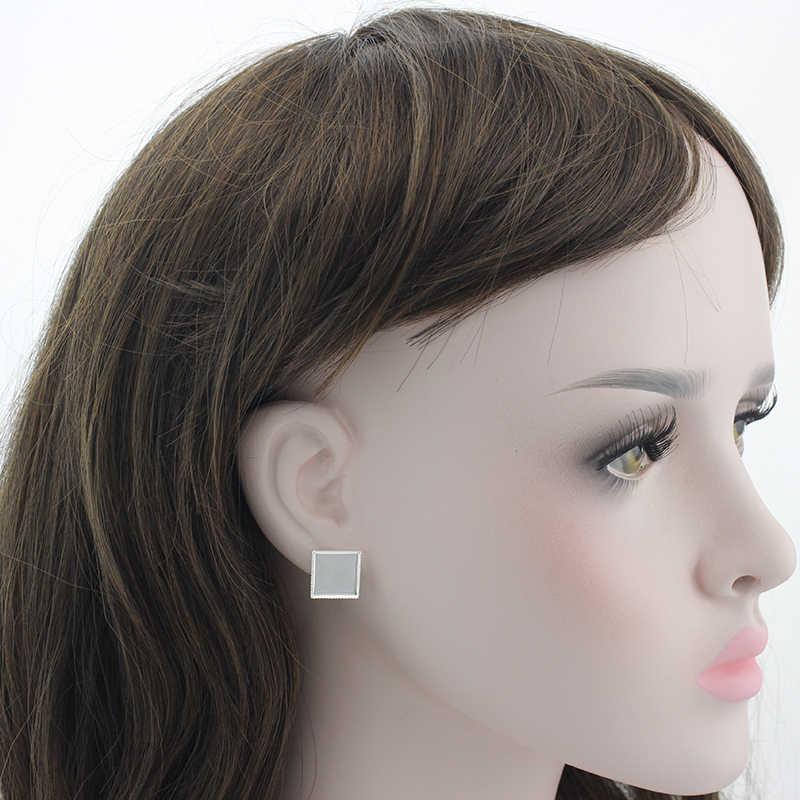 Tafree Kualitas Tinggi 5D Mouse Square Stud Anting-Anting Wanita Anting-Silver Plated Lukisan Kartun Stud Anting-Anting Bijoux Perhiasan E021