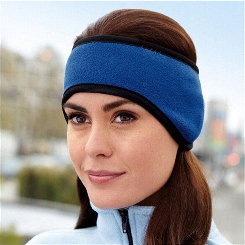 Black Unisex Ear Warm WInter Headband Polar Fleece Stretch Ski Hairba L0C0 O3T5