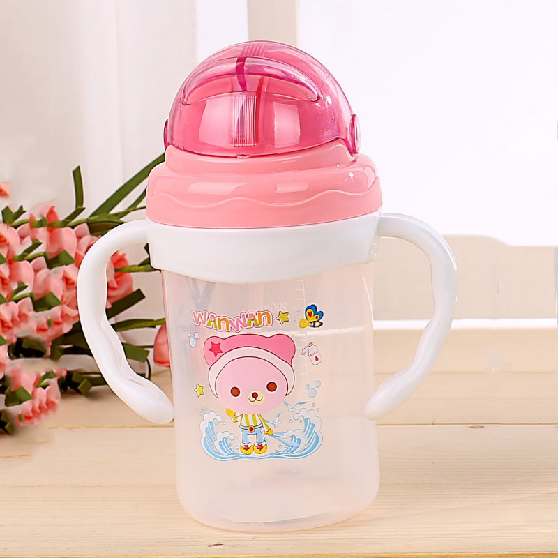 Baby Kids Straw Cup Cartoon Bear Baby Drink Cup Cute Drink Bottle Children Learn Feeding Drinking