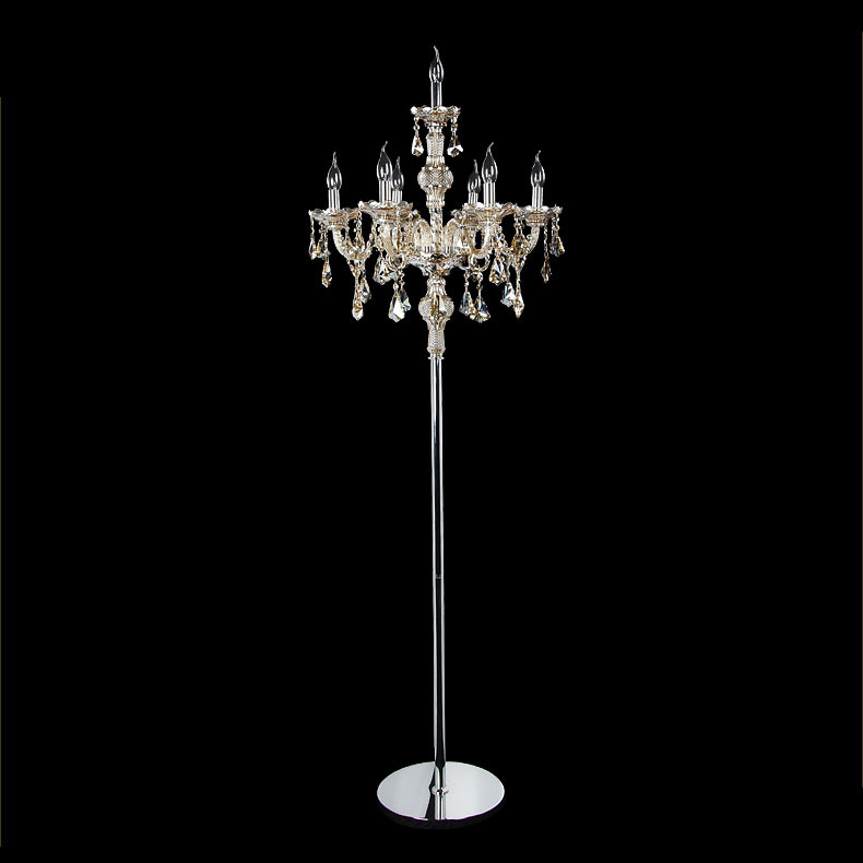 Us 152 6 30 Off Free Shipping Modern Luxury Top K9 Crystal Floor Lamp Decorative Living Room 7 Heads Stand Light Fixture In