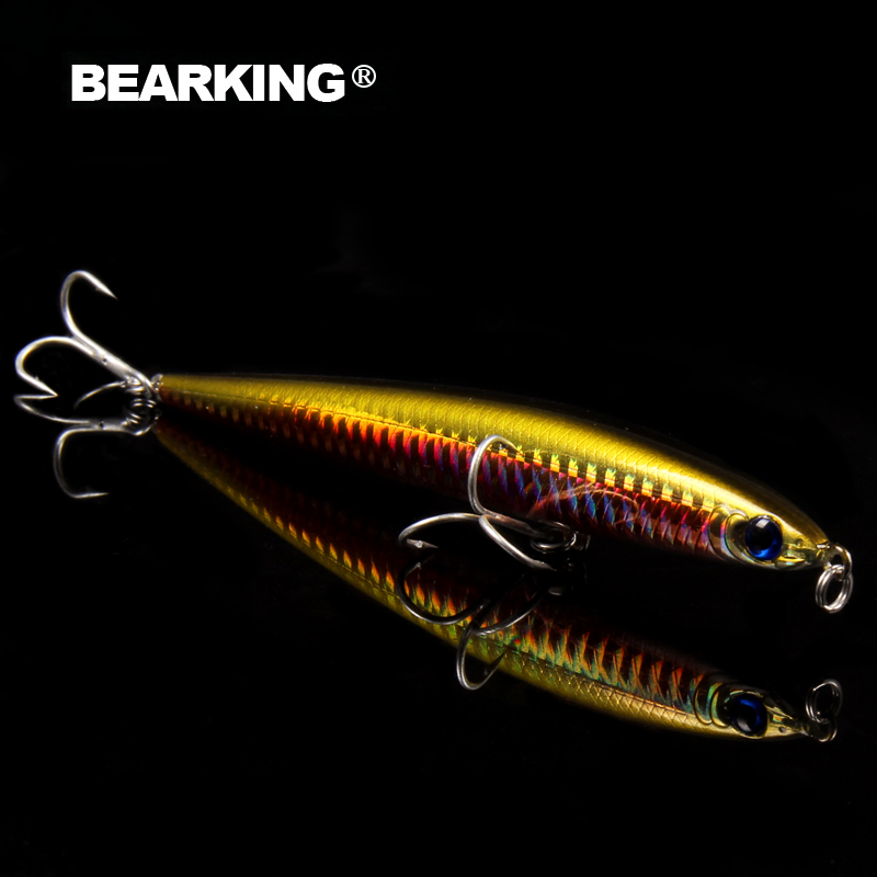Bearking 1PCS Minnow quality Fishing Lure Laser Hard Artificial Bait 3D Eyes 12.5cm 28g Fishing Wobblers Crankbait Minnows lifelike minnow fishing lure 1pcs 9 5cm 11 2g high quality treble hook artificial hard bait treble hook crankbait with 3d eyes