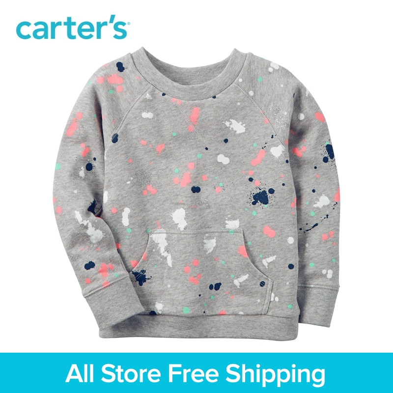Carter's 1pcs baby children kids spring summer girl clothing V-notch cotton stitch Paint Splatter French Terry Pullover 235G787 sweet swan print spaghetti strap two piece swimsuit for women