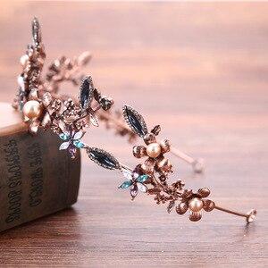 Великолепные винтажные золотые разноцветные с кристаллами и жемчугом тиары для свадебных торжеств, женские аксессуары для волос в стиле барочной короны, украшения для волос