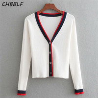 CHBBLF women elegant knitted cardigans long sleeve single breasted sweaters lady basic casual chic tops BGB8359