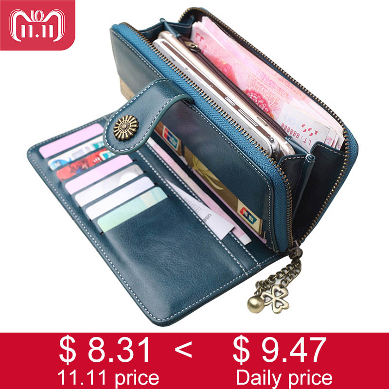 2018 New Women Clutch Wallet Split Leather Ladies Wallets Female Long Wallet Women Zipper Purse Big Coin Purse Phone Bag Vallet new arrival leather handbags women fashion phone bag female storage wallets