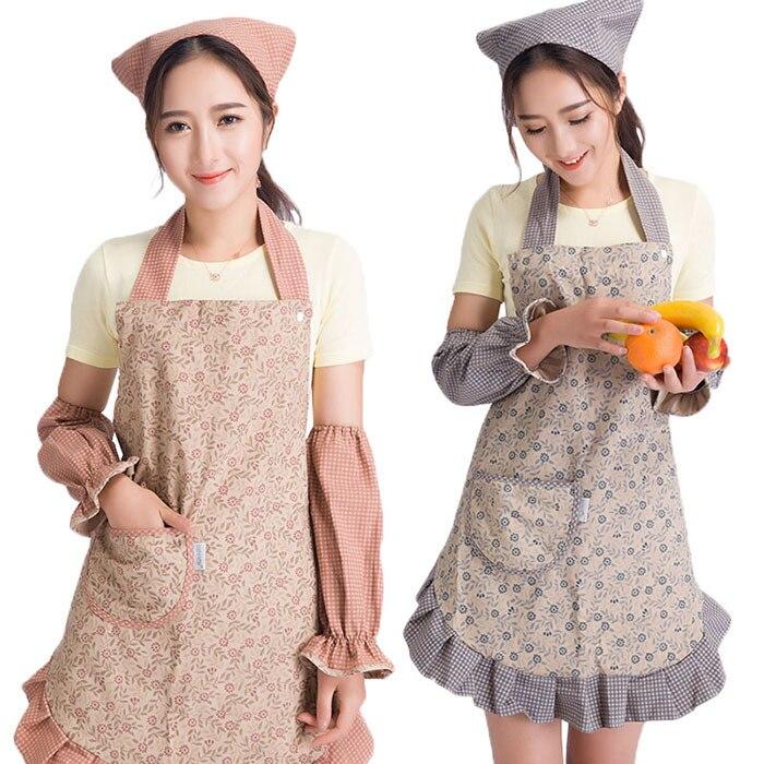 Set of three piece adult apron sleeve sets of headscarf anti pollution princess Korean fashion kitchen
