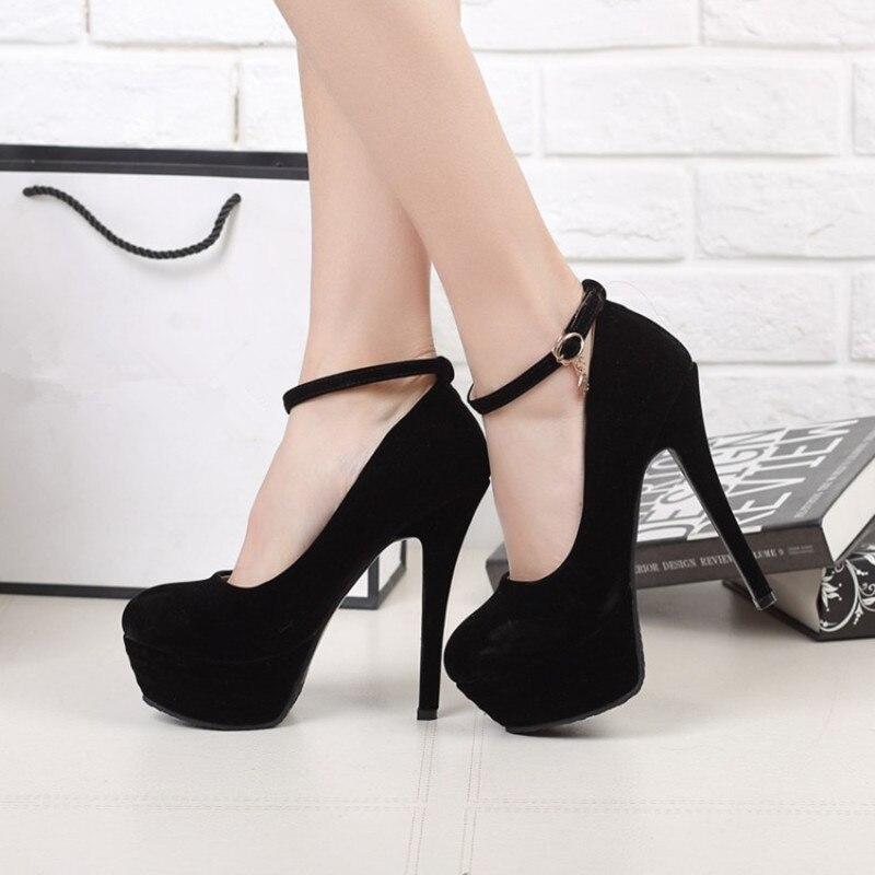 Plus Size 34 46 Women Pumps Ankle Buckle platform woman shoes super high heeled bride Dress party wedding Bridal footwear shoes in Women 39 s Pumps from Shoes