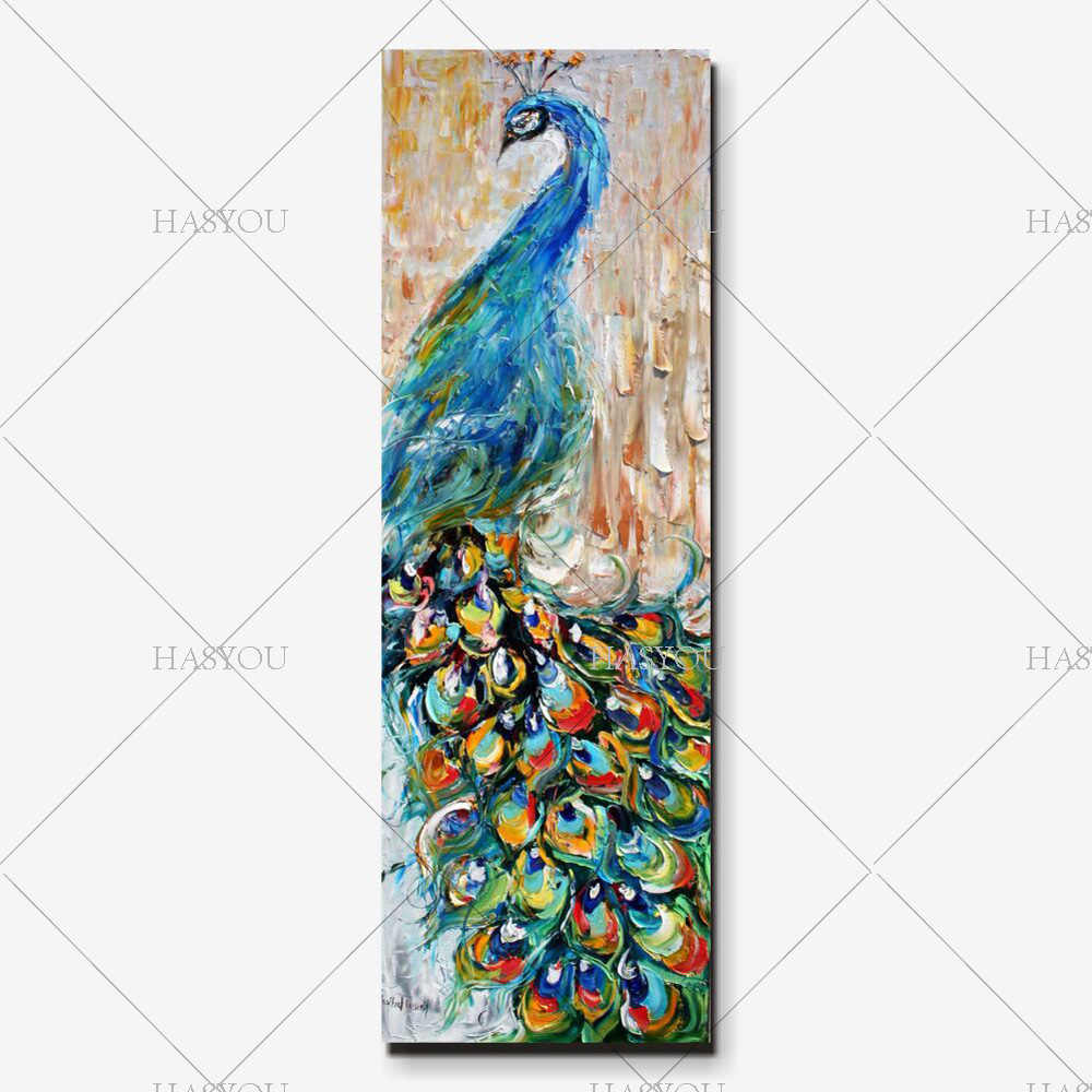 100% hand-painted canvas knife pop art animal oil painting Peacock pictures modern decor image home Colorful Large vertical