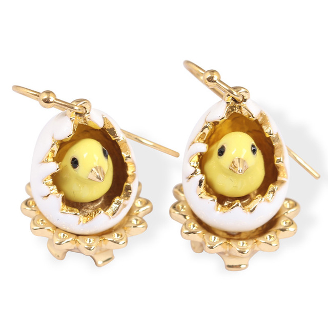 New Arrivals European Style Fashion Broken Shell Chick Enamel Gold Plated Luxury Earring For Women Party Jewelry