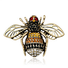CINDY XIANG 2 Colors Available Rhinestone Bee Brooches for Women Antique Color Insect Brooch Bug Jewelry Lady Kids Gift New 2018