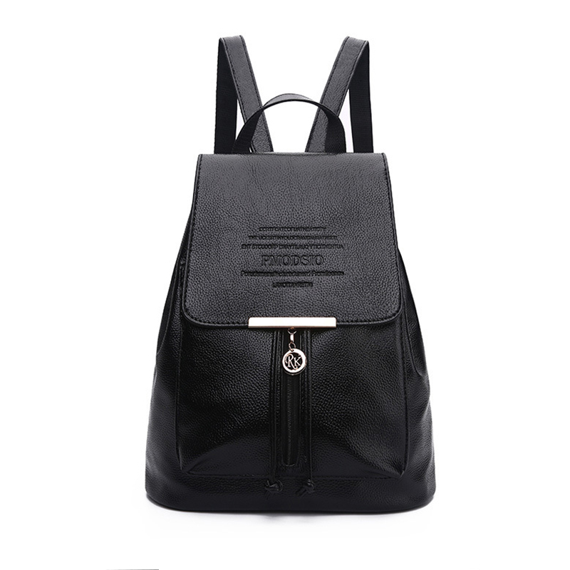 Homeda PU Leather Women Backpack Fashion Solid School Bags For Teenager Girls Large Capacity Casual Women Black Mochila Z0120