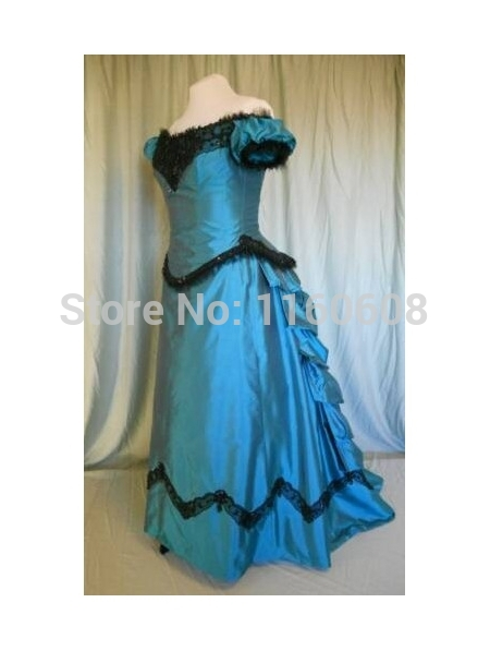 Fee Shipping Blue 0ff-the-Shoulder Victorian Bustle Ball Gown Dress