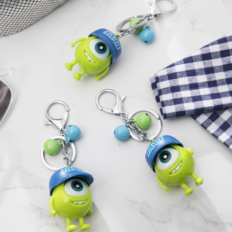 1 Pcs Cute Monsters Figure Led Keychain Mike Wazowski Big Eyes Figure Keyring Toy Gift For Children Light-Up Toys