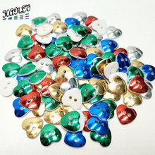50PCS/package 12MM Heart Shape Plating Plastic Buttons Childrens Apparel Sewing Accessories DIY Crafts Scrapbooking