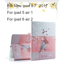 For New iPad 9.7 2017 PU Leather Case Colorful Painting Protective Stand For Apple air 1 2 Tablet Shockproof Smart Cover