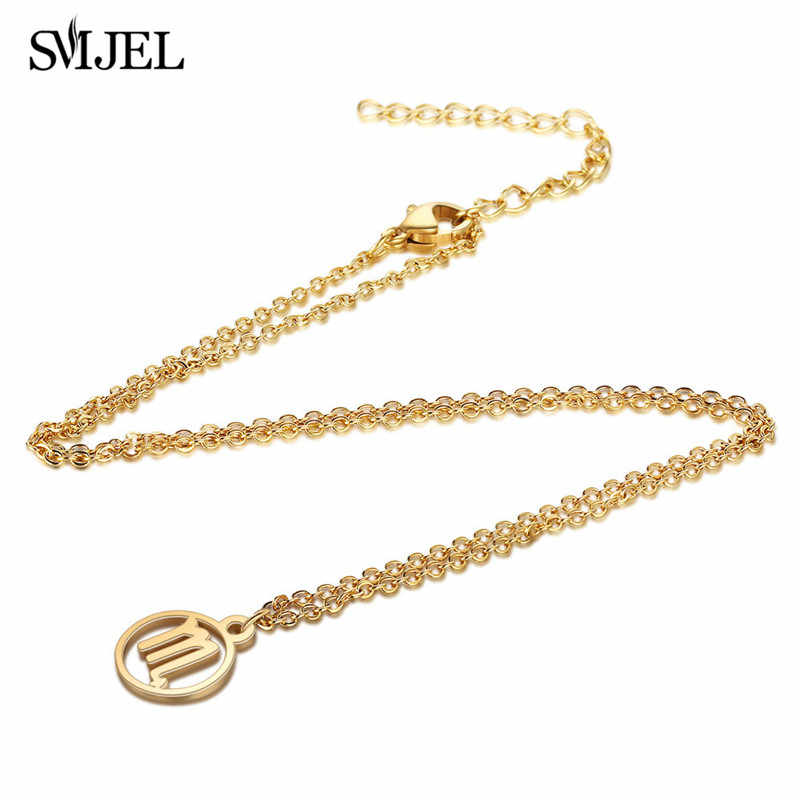 SMJEL Stainless Steel Star Zodiac Sign Necklaces 12 Constellation Pendant Necklace Women Gold Chain Necklace Men Jewelry bijoux