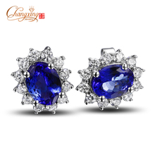 Free Shipping  Solid 14K White Gold Natural Diamond 2.95CT Tanzanite Engagement Earrings Gemstone Jewelry