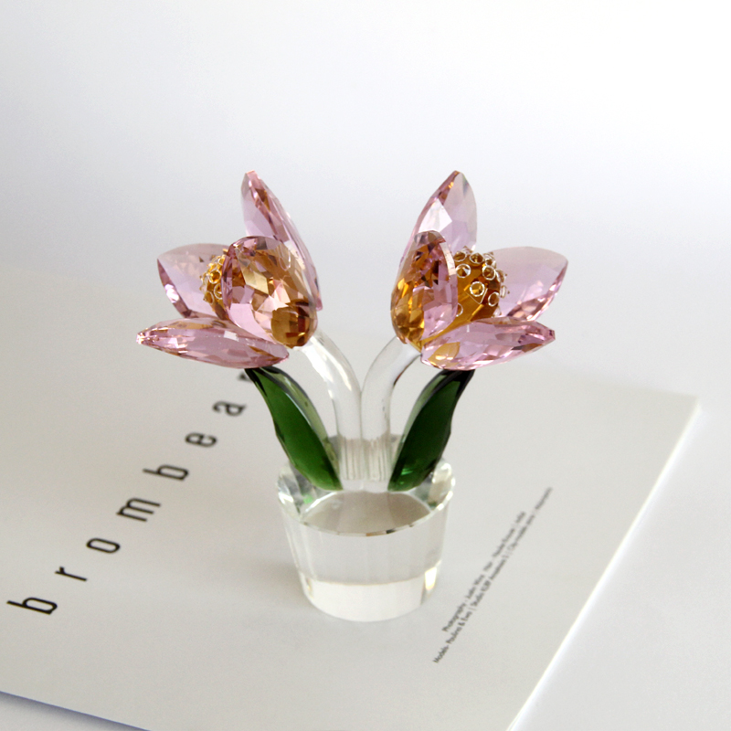 1 pcs Crystal Glass Tulip Flower Figurines Craft Wedding Valentine's Day favors and gifts Souvenir Table Decoration Ornaments - 3