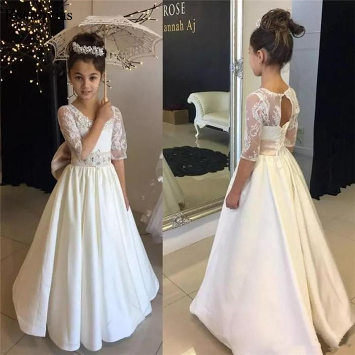 Long   Flower     Girl     Dresses   For Weddings Jewel Half Sleeves Lace-up Back Appliques Child Birthday Party Gowns   Girls   Pageant   Dresses