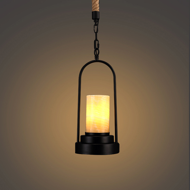 Loft retro balck Industrial iron marble lampshade Hemp rope pendant lamp E27 110V 220V pendant lights for living room bedroom new arrival vintage pendant lamp modern retro industrial pendant lights for restaurant bar living room bedroom 220v e27 holder