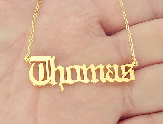 Gold Name Necklace Personalized Nameplate Pendant Old English style
