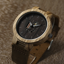 2017 BOBO BIRD Watch Wooden Zebra Pattern Men Watches Quartz Genuine Leather band Wristwatch relogio masculino B-H29