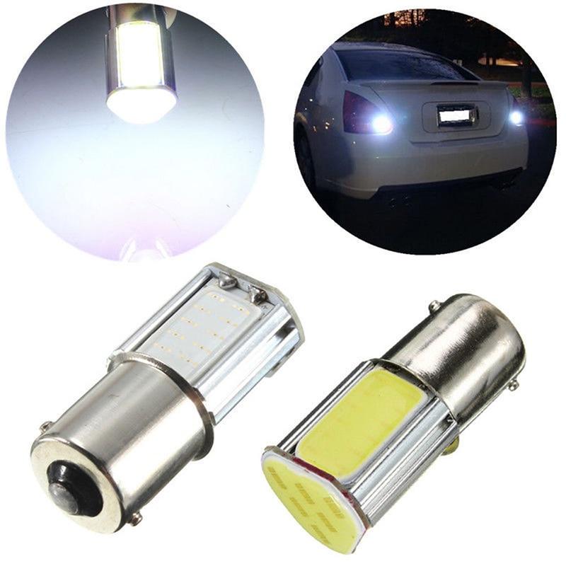 1pcs White 1156 Ba15s Car Reverse Light G18 4 COB LED Backup Lamp Bulb 12V Auto Turn Signal Light 2pcs 12v 24v dc 4 cob 1156 1157 led car bulb lens auto signals turn brake tail parking backup car light high quality led chip