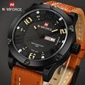 2016 новый топ люксового бренда мужчин спортивные часы мужские кварцевые часы дата часы мужской военная кожа свободного покроя водонепроницаемые наручные часы