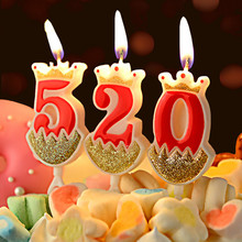 1 Pcs Gold Crown Party Candle Red Birthday Candles for Kids Girls Boys Number Cake Decorations 0-9