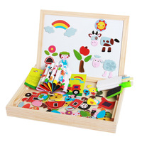 Wooden Puzzle Kids Toys Double Side Multifunctional Magnetic Board Drawing Educational Learning Toys For Preschoolers Gifts