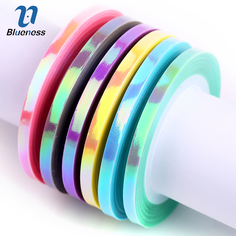 Blueness Nail Striping Tape Line Mermaid Candy Color 1mm 2mm 3mm Adhesive Sticker DIY Nail Art Tools Decals Manicure Decoration 8pcs vinyl nail sticker scrub striping tape liner nail art tips decoration diy manicure nail decals strips roll mix colors 1 3mm