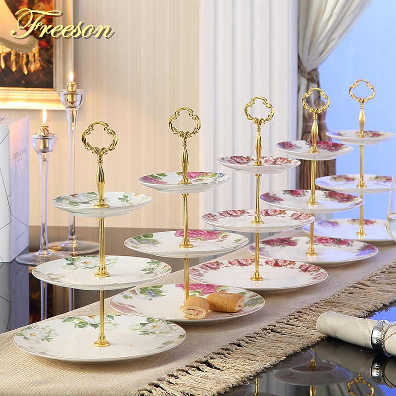 Pastoral Bone China Triple Decker Plates Fruit Dishes Cake Plate Candy Dish Ceramic Tray Porcelain Tableware