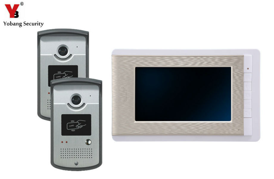 YobangSecurity 7 Inch Video Door Phone Intercom Doorbell Home Entry Intercom System Kit 1 Monitors 2 Camera With RFID ID Keyfobs yobangsecurity video door phone 7 inch doorbell home video entry intercom system 1 monitors 1 camera with rfid keyfob door lock page 8