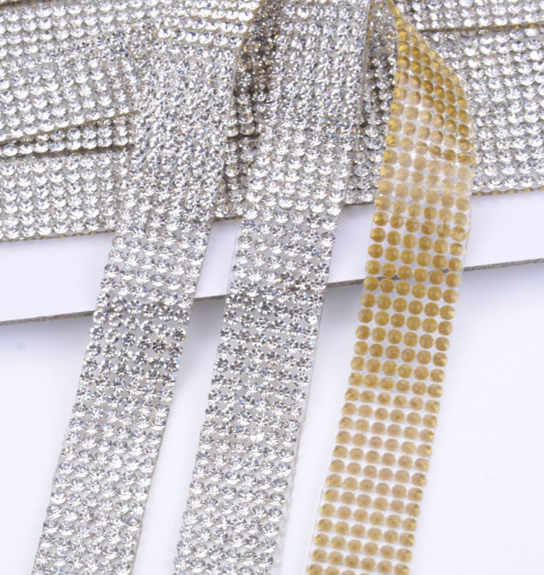 Free ship!1cm width 2yards lot SS8 Clear Crystal Rhinestone Beaded Trim  Diamond Mesh 8f78f4f59c07