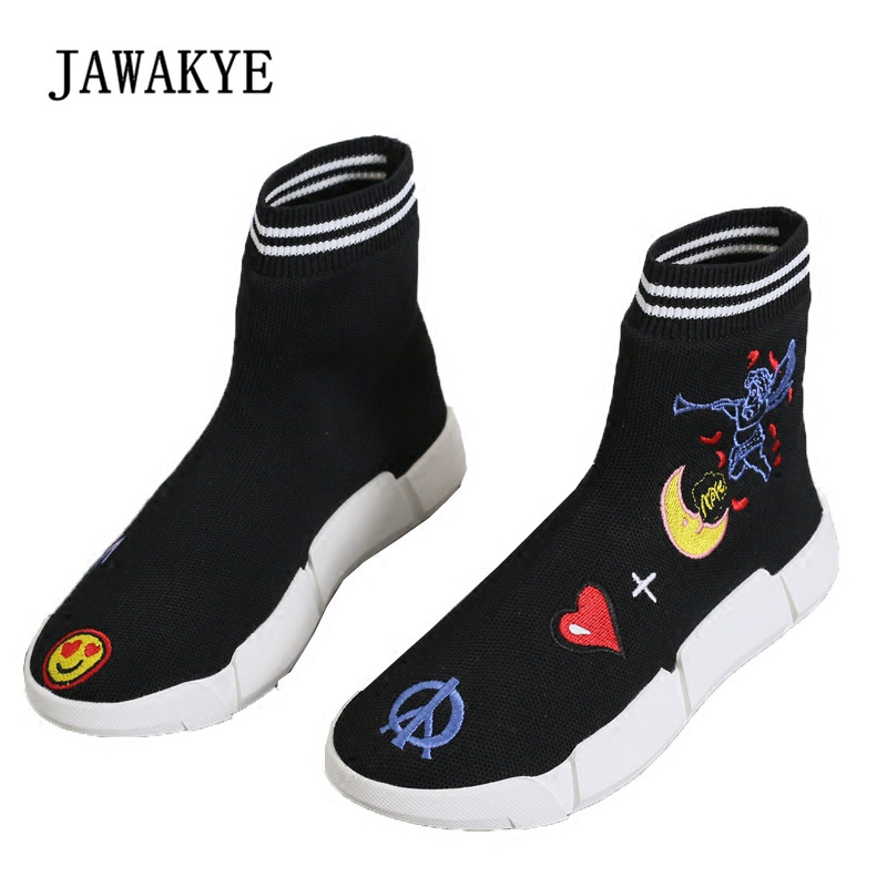 2018 Embroidered Stretch Sock Boots Woman Fashion Thick Bottom Elastic Short Boots Women Fashion Ankle Boots