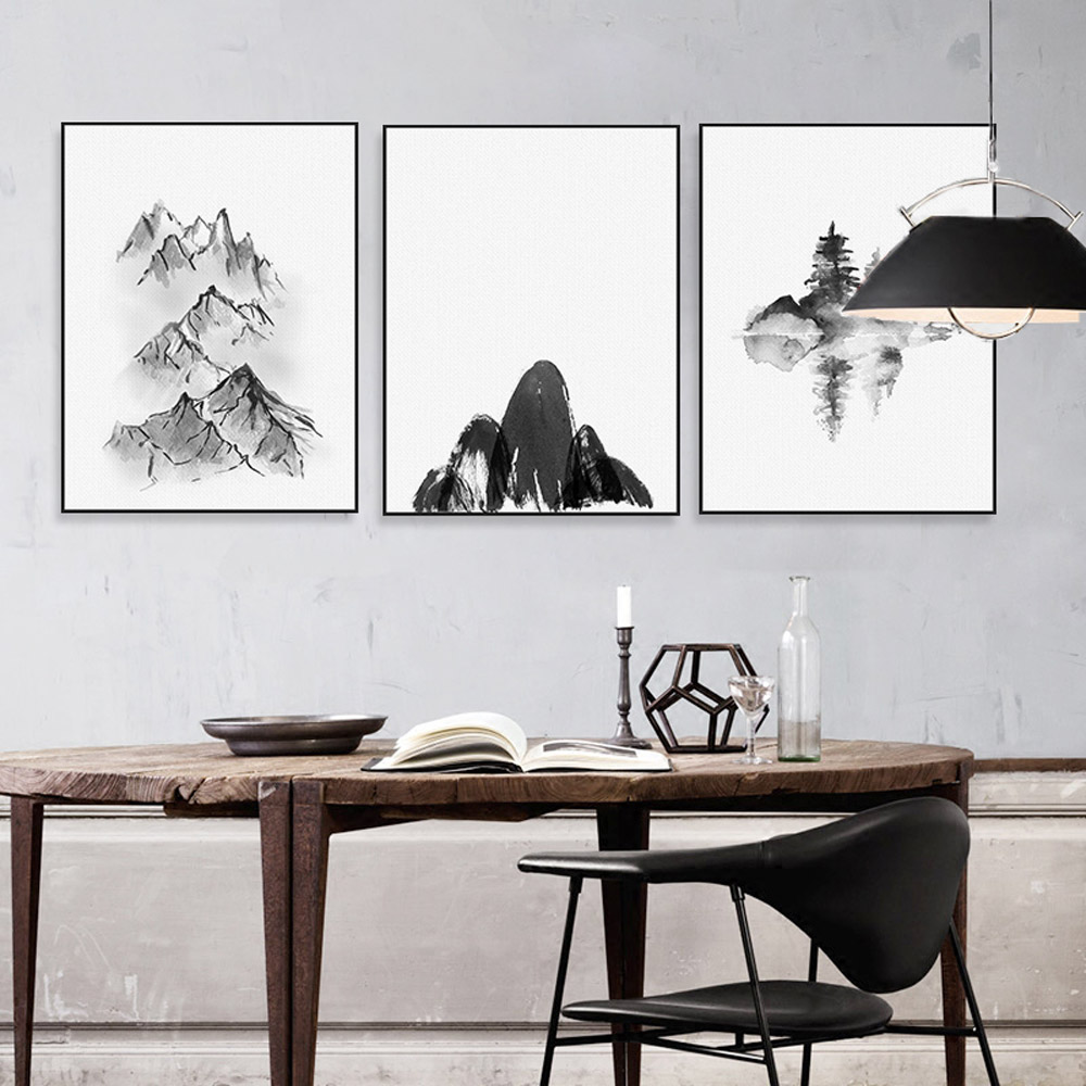 Black White Chinese Ink Landscape Mountain Poster Oriental Living ...