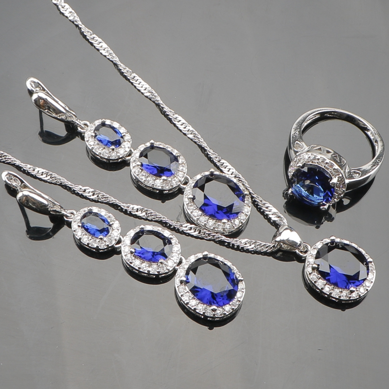 Trendy Round Bule Sapphire 925 Sterling Silver Jewelry Sets For Women 925 Sliver Necklace Pendant Rings Earrings Free Gift Box