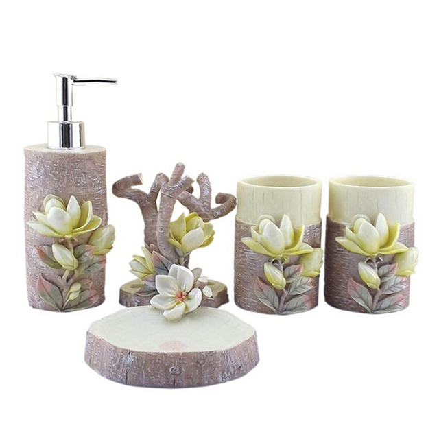 Delicate Artificial Flower Magnolia Resin Bathroom Accessory Set Unique Toothbrush Holder