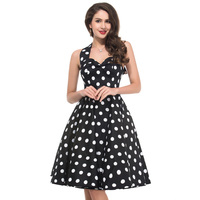 Plus Size Summer Women 2017 Vintage Polka Dots Sexy Halter Pleated Dresses 1950s Retro Casual Hepburn