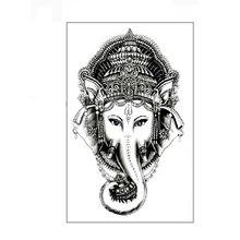 2PCS Waterproof Temporary Tattoo Sticker Elephant Tattoo Ganesha Water Transfer Fake Tattoo 3D Tattoo For Girl Women