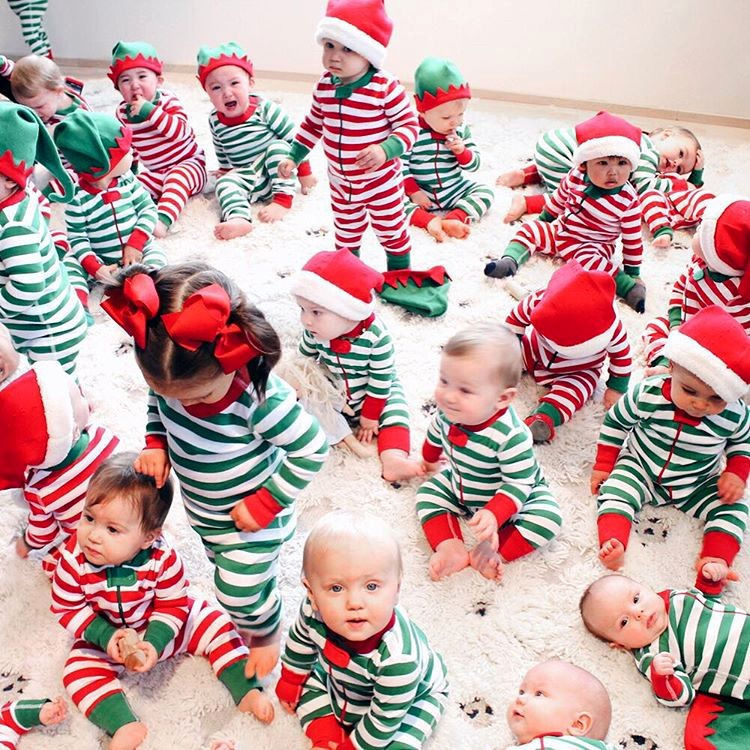 Рождественский классический хлопковый комбинезон в полоску для маленьких мальчиков и девочек, одежда для сна, пижамы, Рождественская одежда для сна унисекс, kigurumis