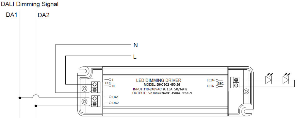 dali led driver wiring diagram roto phase 110 240v constant current 1000ma 24 40v 40w single remark as our cc drivers share the same connection way we herewith only show of dhc802 450 26 for your reference