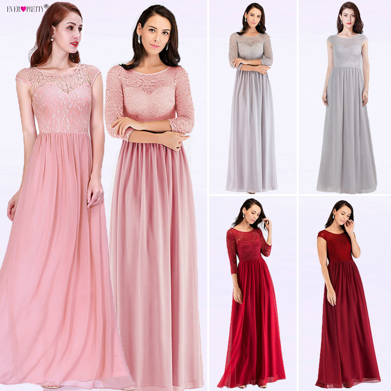 Burgundy Ladies   Evening     Dresses   Ever Pretty Elegant Long Sleeve A-line Lace Chiffon Formal Wedding Guest   Dresses   Robe De Soiree