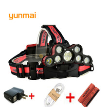 yunmai Ultra Bright LED Headlamp 7*NEW xml t6+2*Q5 USB Headlight Head Lamp Lighting Light Flashlight Torch Lantern Fishing usb 15000lm 5 led headlamp 3 cree xml t6 2q5 white blue light headlight head lamp lighting flashlight torch lantern fishing